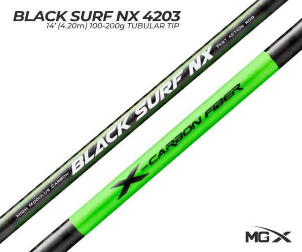 cana de surfcasting mgx black surf nx logo
