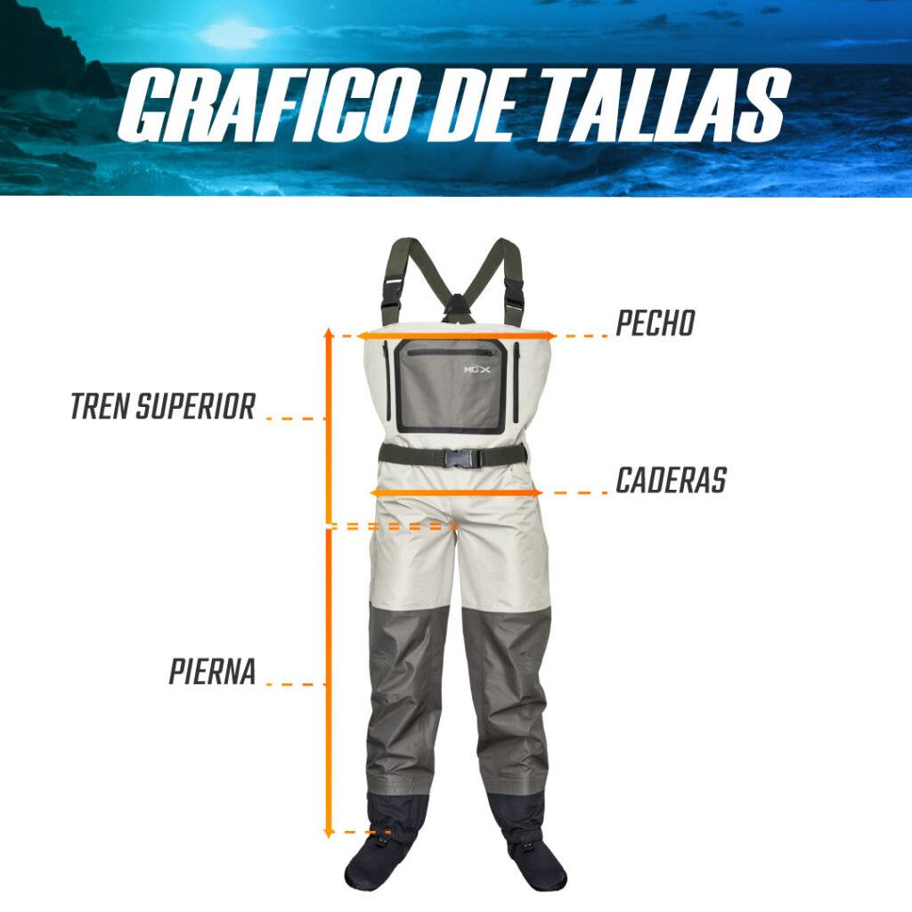 GRAFICO DE TALLAS WADER MGX 1