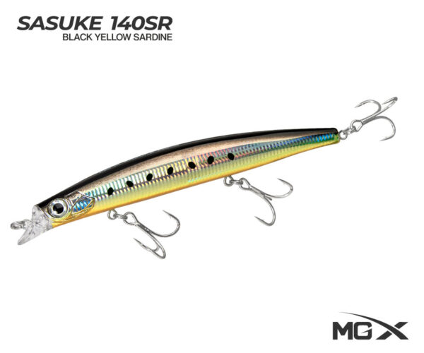 senuelo mgx sasuke 140sr black yellow sardine